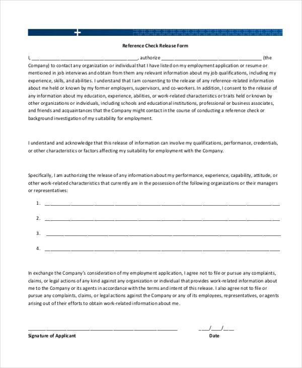 reference check forms for employment
