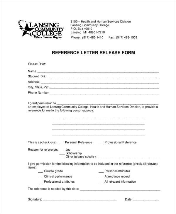 Reference Letter Release Form  Letter Of Release Form
