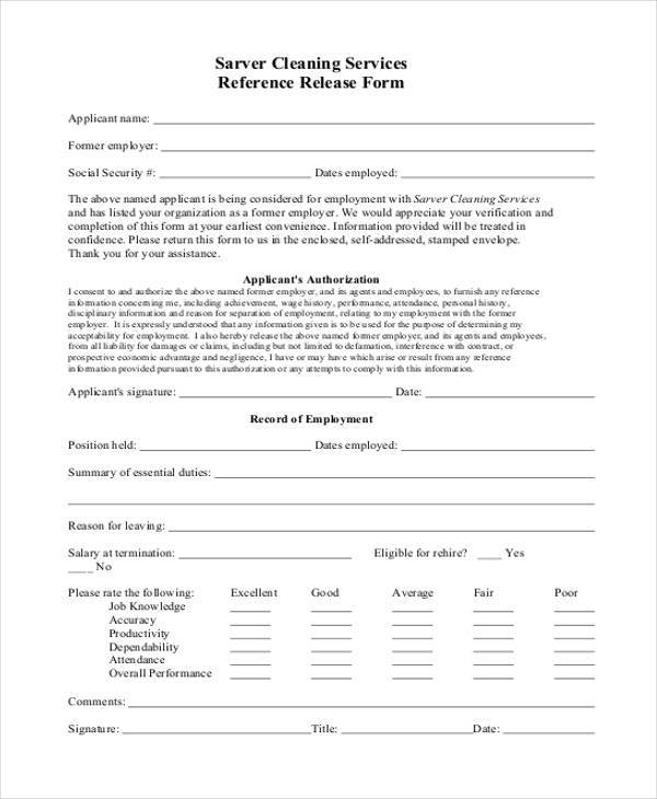 Sample Reference Release Forms   Free Documents In Word Pdf