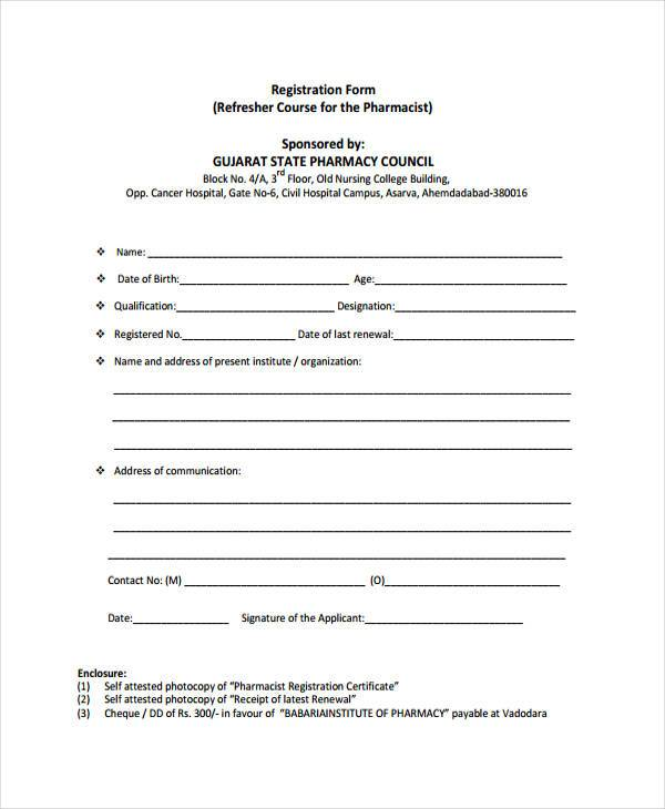 refresher pharmacist registration form example