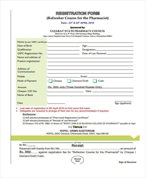 refresher pharmacist registration form