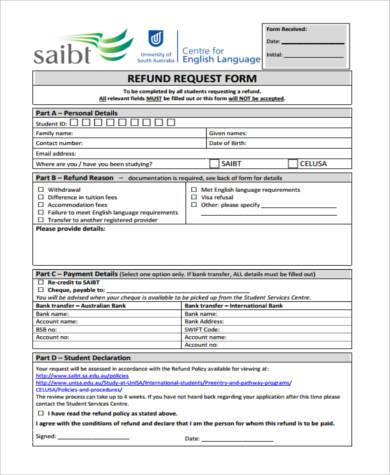 refund request form example