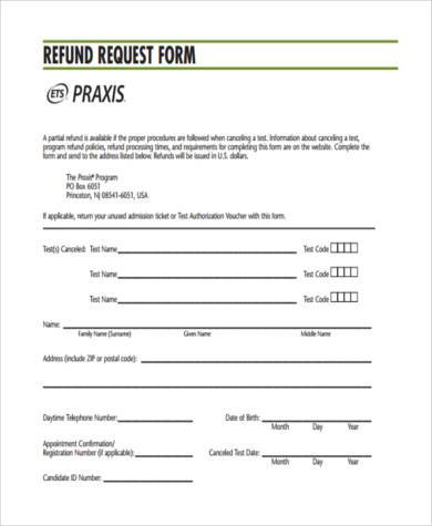 Sample Refund Request Forms   Free Documents In Word Pdf
