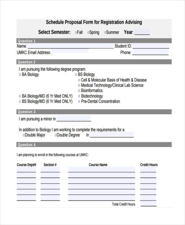 registration schedule proposal form