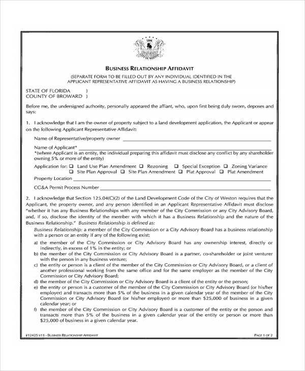 relationship affidavit form example
