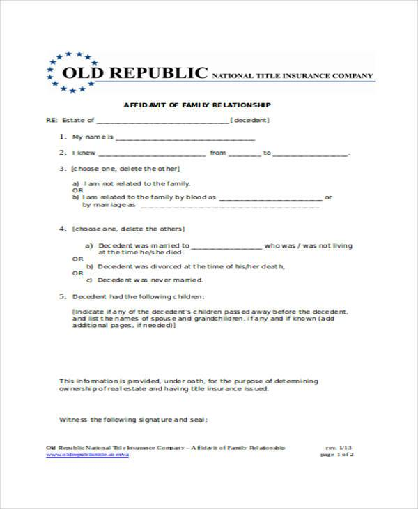 relationship affidavit form in doc