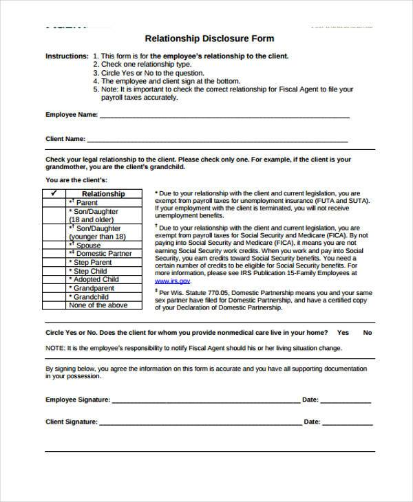 relationship disclosure form in pdf