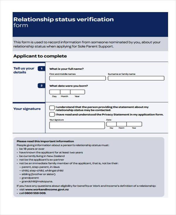relationship status verification example