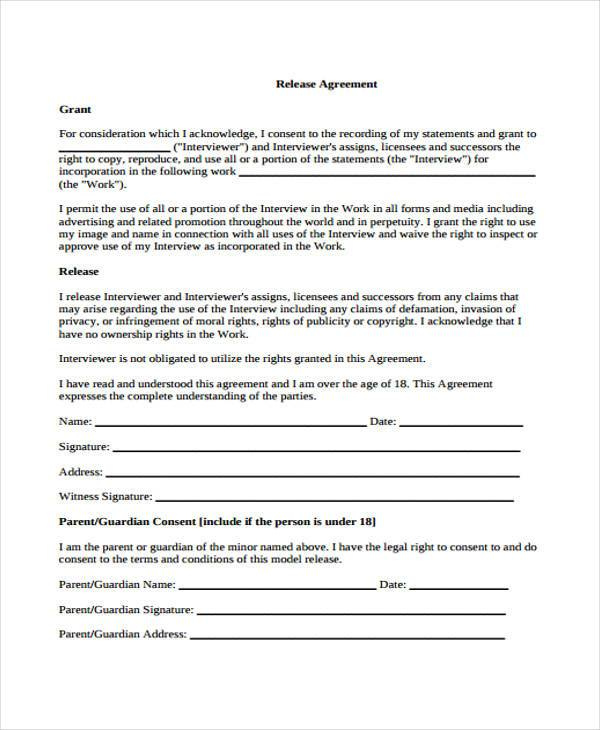 release agreement form example1