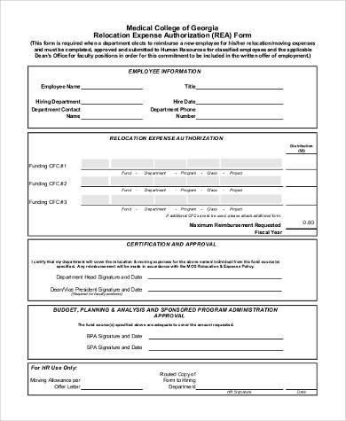 relocation expense authorization form