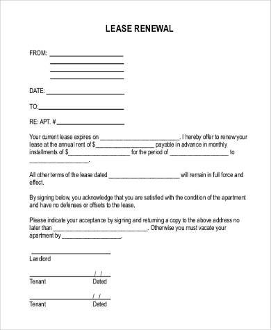 renewal rental lease agreement form