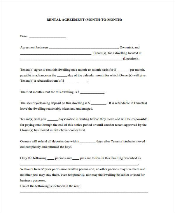 rent agreement sample