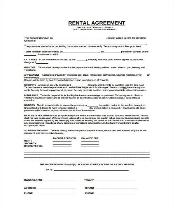 8+ Rent Contract Form Samples - Free Sample, Example Format Download