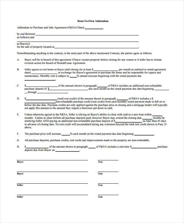 Home Purchase Agreement Renttoown Addendum Contract Form Rent