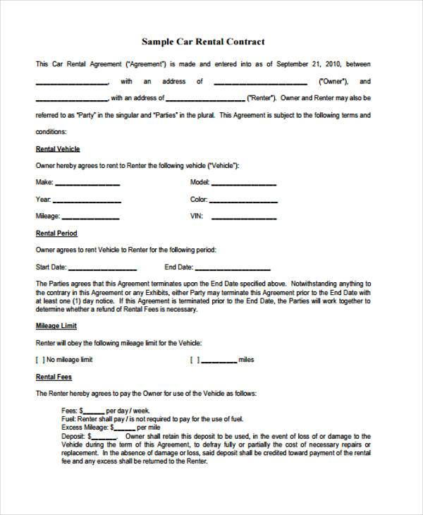 Sample Free Contract Forms