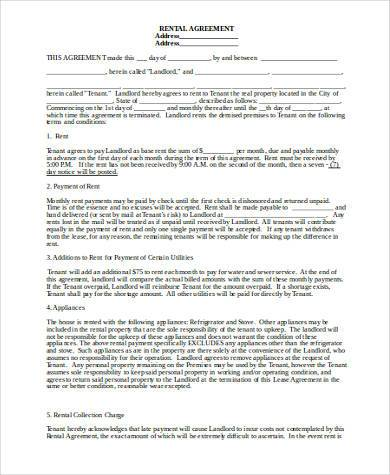 rental agreement form word format