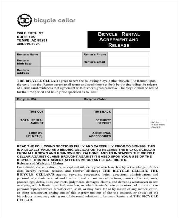 rental agreement release form