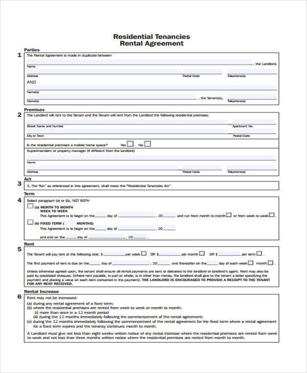 rental contract agreement free form