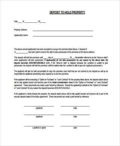 rental deposit form example