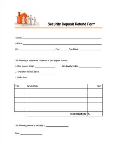 rental deposit refund form
