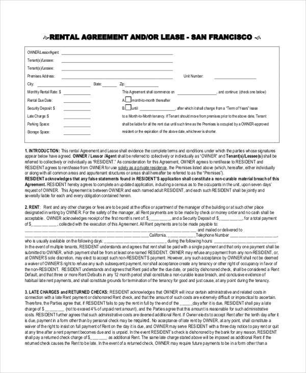 8 Rental Agreement Form Samples Free Sample Example Format Download