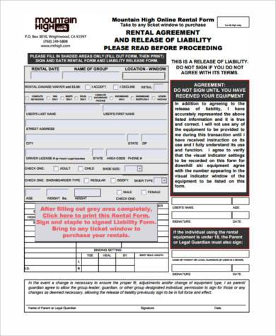 rental release agreement form