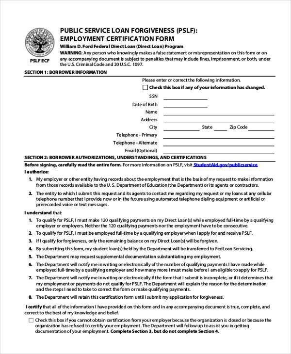 request for employment certification form