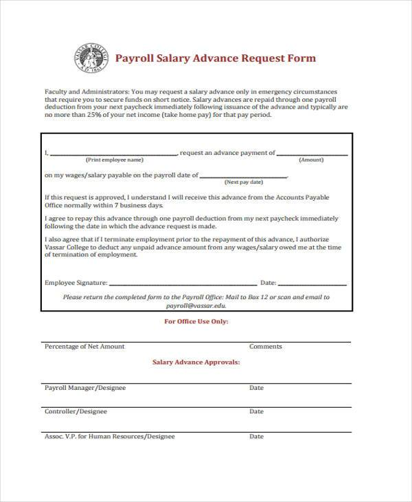 Sample Payroll Advance Forms