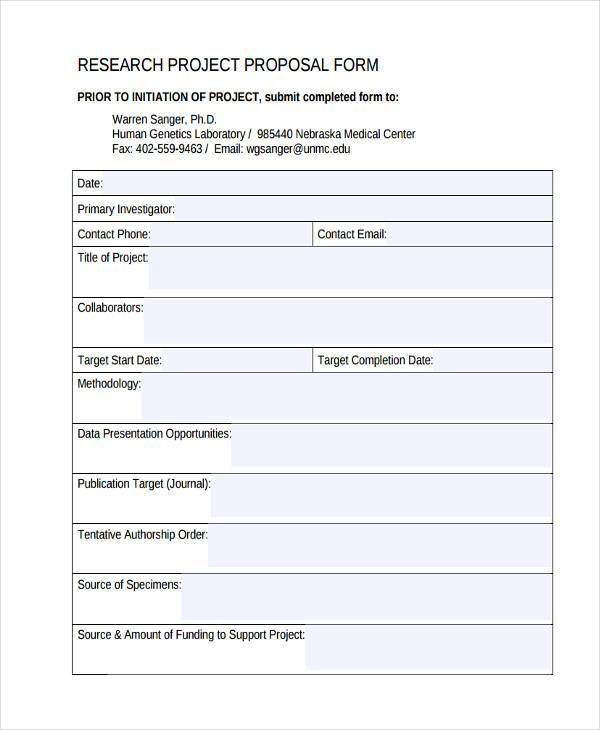 research project proposal form