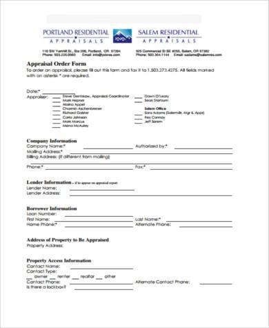 residential appraisal order form