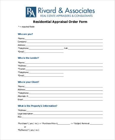 Sample Residential Appraisal Forms  Free Documents In Pdf