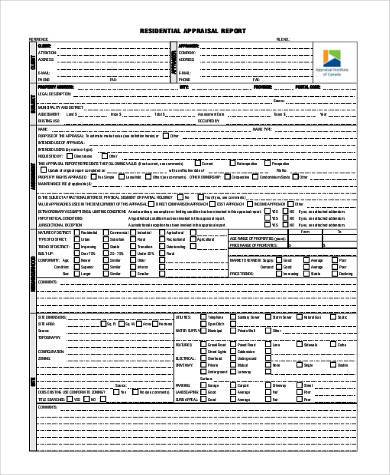 residential appraisal report form