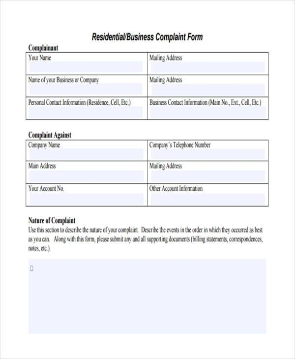 residential business complaint form sample