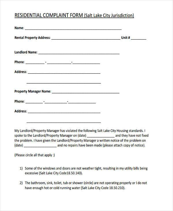 residential complaint form example1