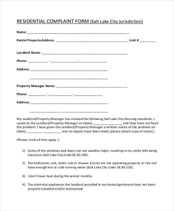 residential complaint form in pdf
