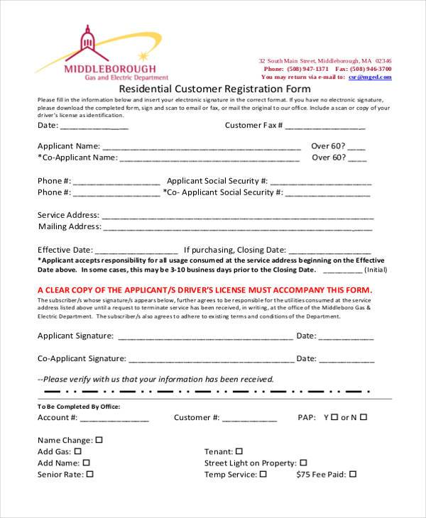 residential customer registration form