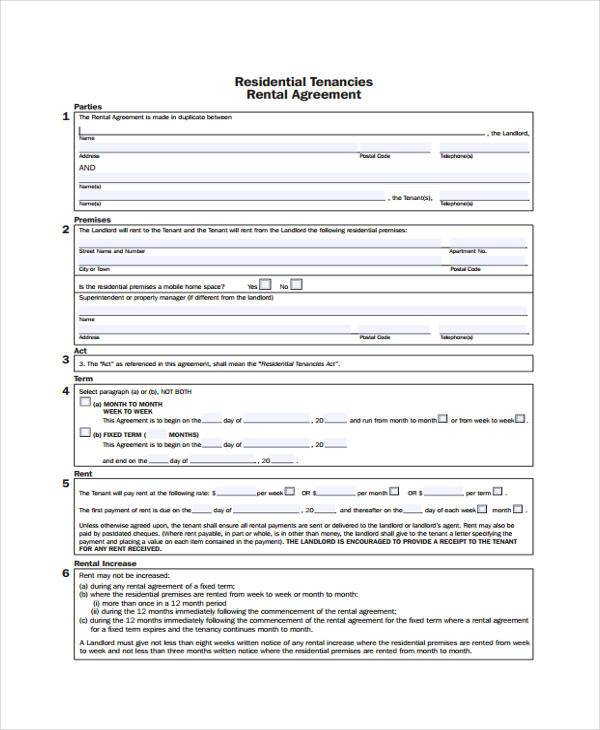 7 Generic Rental Agreement Form Samples Free Sample