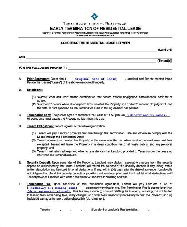 Residential Lease Agreement Form Samples  Free Sample Example