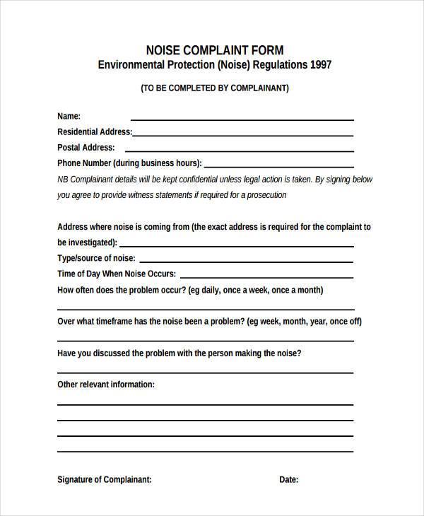 residential noise complaint form