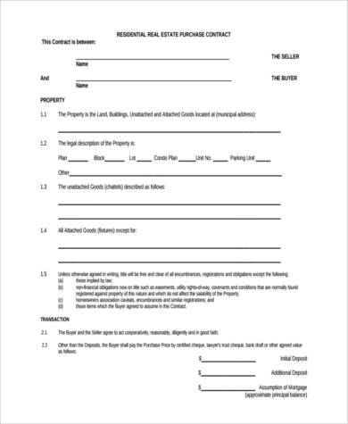 Real Estate Purchase Form Samples   Free Documents In Word Pdf