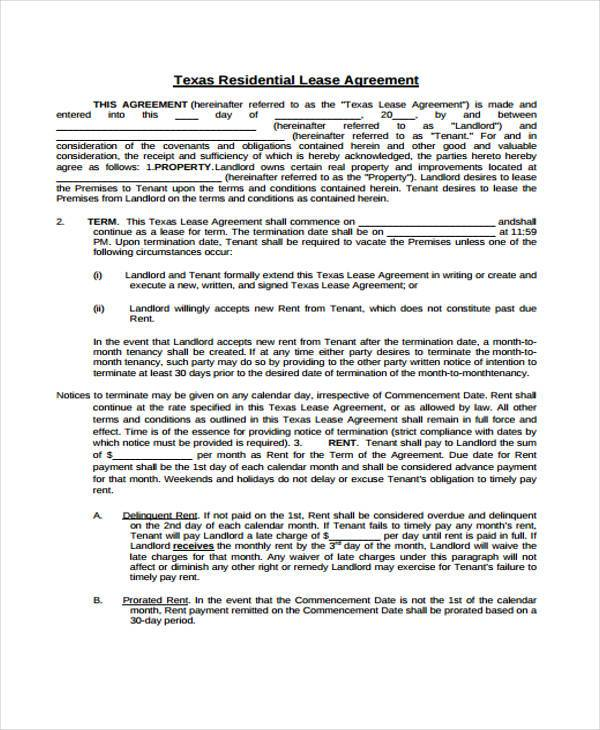 Texas Residential Lease Agreement. Blank Lease Agreement
