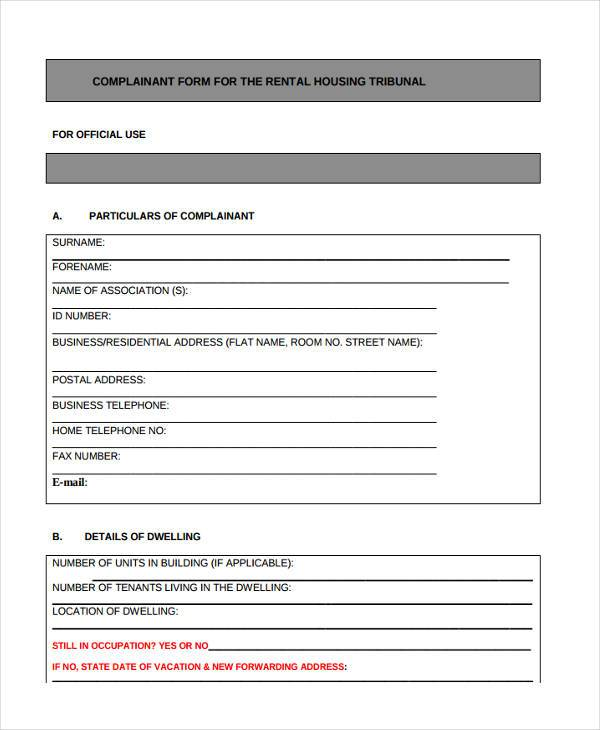 residential rental complaint form example