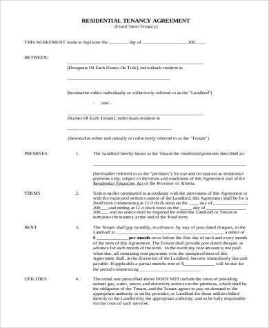 residential tenancy agreement form