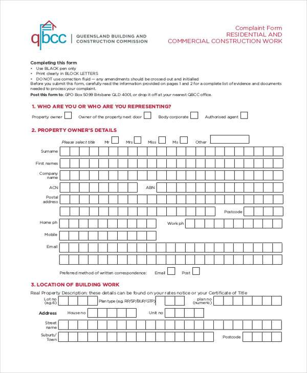 residential and commercial construction complaint form