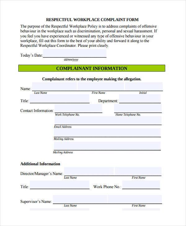 respectful workplace complaint form