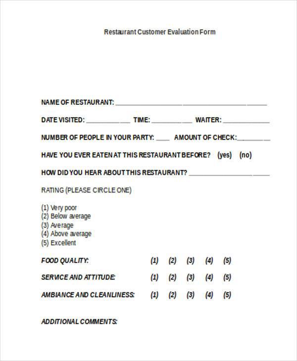 restaurant customer evaluation form
