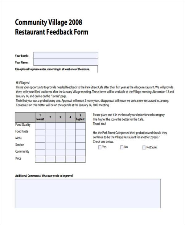 restaurant customer feedback form1