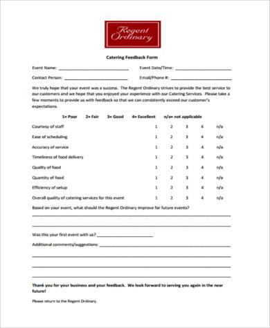 Sample Restaurant Feedback Forms   Free Documents In Word Pdf