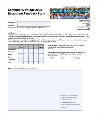 restaurant feedback form pdf