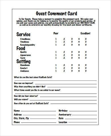Restaurant Comments Card Template  BesikEightyCo